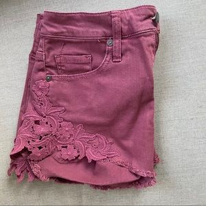 High rise floral embroider plum shorts
